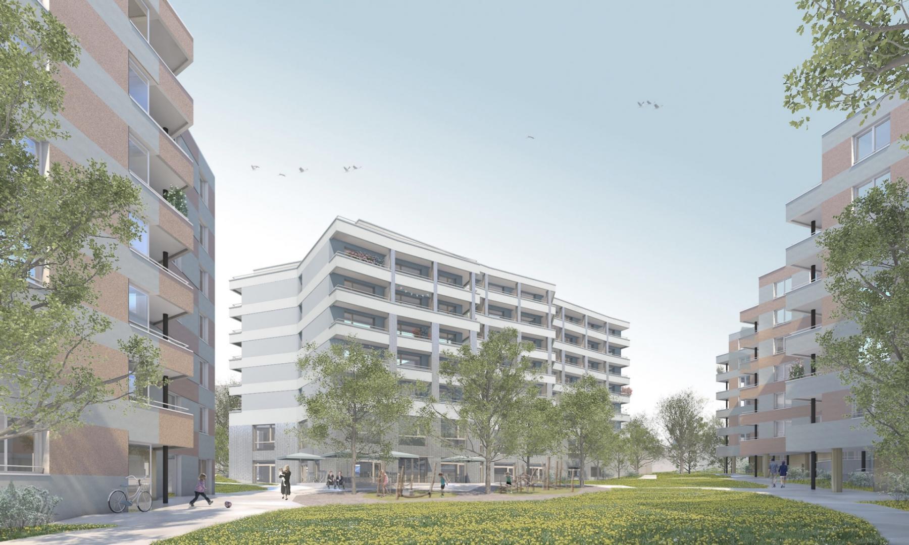 Neubau Alterszentrum und Wohnsiedlung Eichrain, Zürich-Seebach, Vukoja Goldinger Architekten, Le temps des cerises