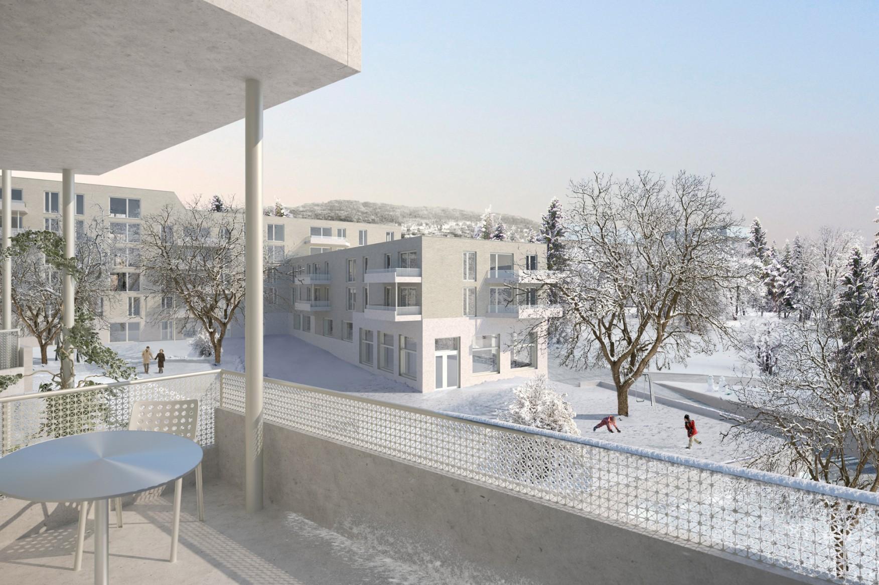 Neubau Wohnsiedlung Kronenwiese, Zürich-Unterstrass, Armon Semadeni Architekten | Weber + Brönnimann Landschaftsarchitekten, Amparo
