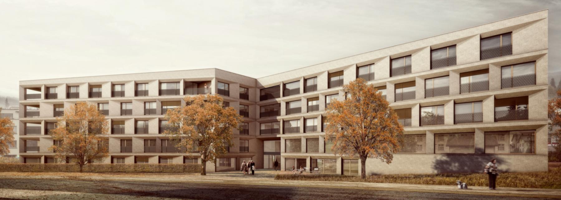 Neubau Alterszentrum der Stiftung Drei Tannen, Wald, kit – architects & parbat Landschaftsarchitektur, Bonbon