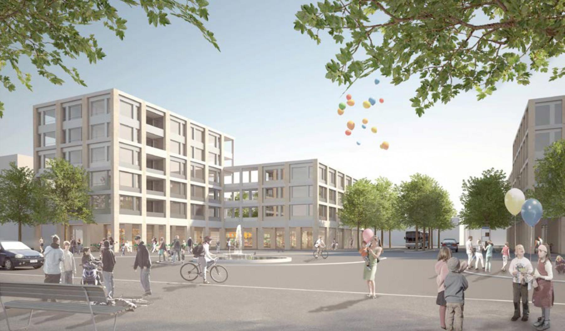 Zentrumsentwicklung Geroldswil, Baumberger & Stegmeier mit Berchtold.Lenzin Landschaftsarchitekten