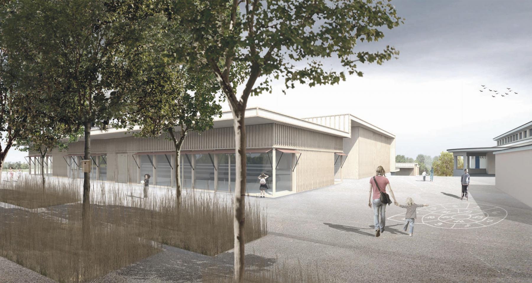 Erneuerung Schulanlage Tobel-Tägerschen, Rohrbach Wehrli Pellegrino Architekturagentur, Variante B, Neubau