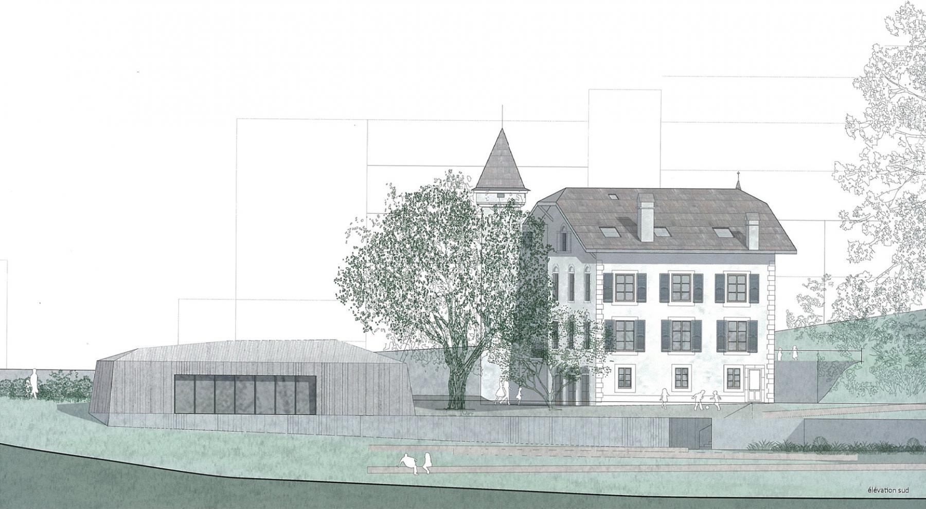 Rénovation et affectation en unité d'accueil pour écoliers (UAPE) de la maison «Gubler» + jardin public, Nyon, Dettling Péléraux + VWA Verzone Woods, mowgli