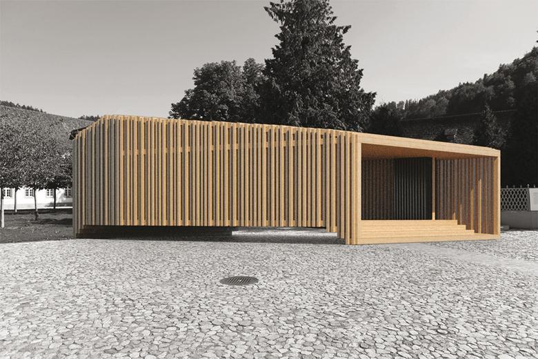 Holzimagination «Mobiler Pavillon in Holz», Einsiedeln, Nietlisbach Holzbau, WHIST Architektur, LOB DES SCHATTENS