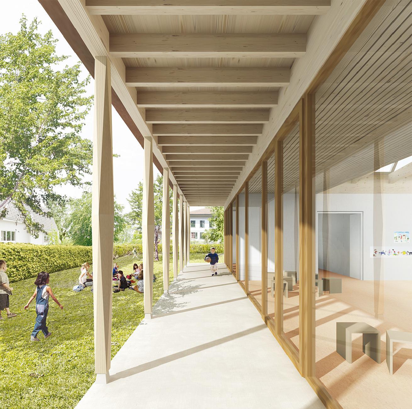 Neubau Doppelkindergarten, Schulstrasse, Oberönz, Gemeinde Herzogenbuchsee, bernath+widmer Architekten