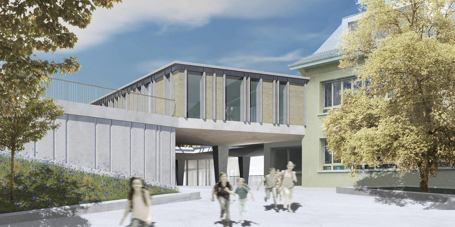 Schulanlage Bündtmättli, Erweiterung mit Schulräumen, Doppelturnhalle und Kindergärten, Malters, Meyer Gadient Architekten, Bündtmitte