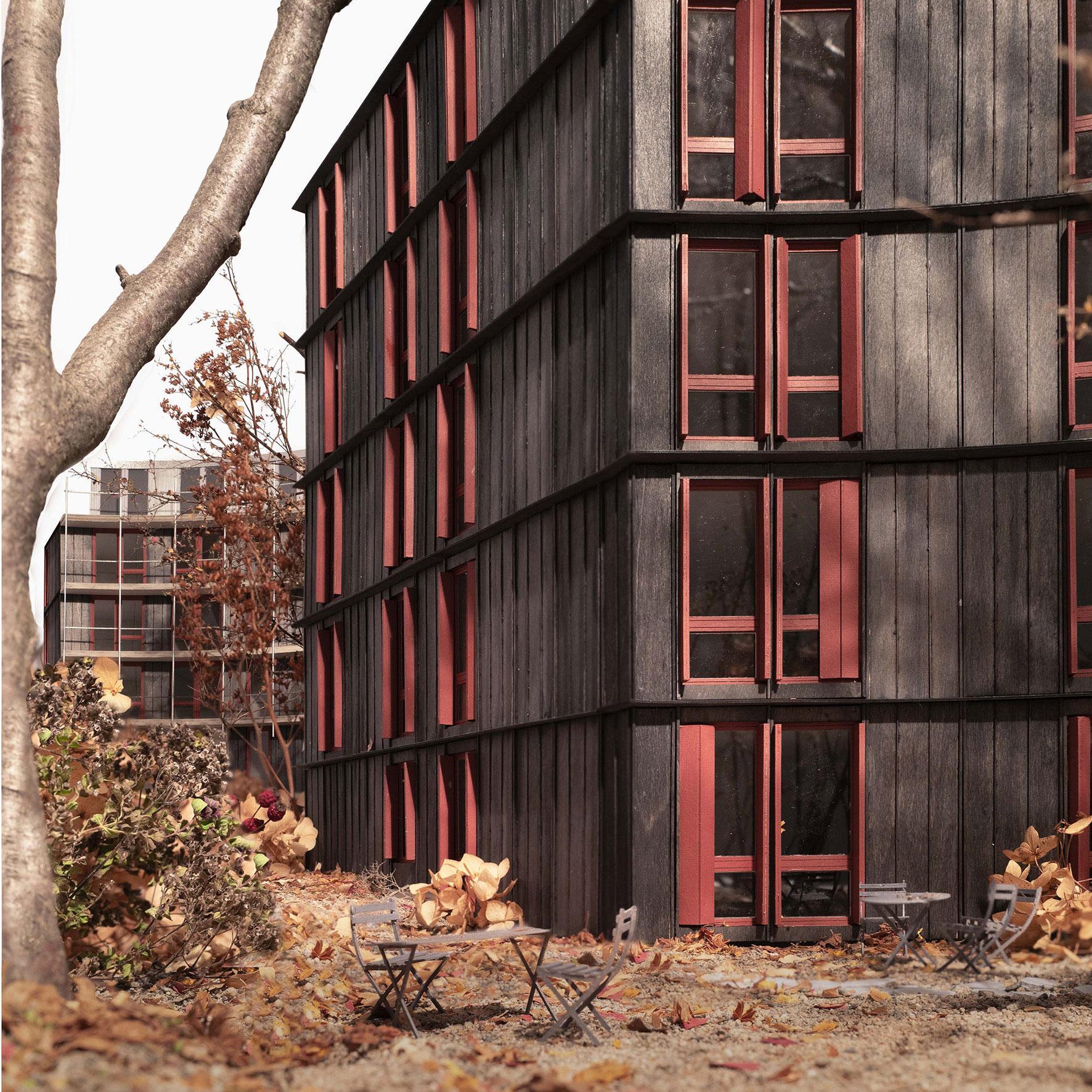 Der Entwurf «Volière» von Edelaar Mosayebi Inderbitzin Architekten legt sich organisch um den alten Baumbestand des Wettbewerbsperimeters im Rotbuchquartier.
