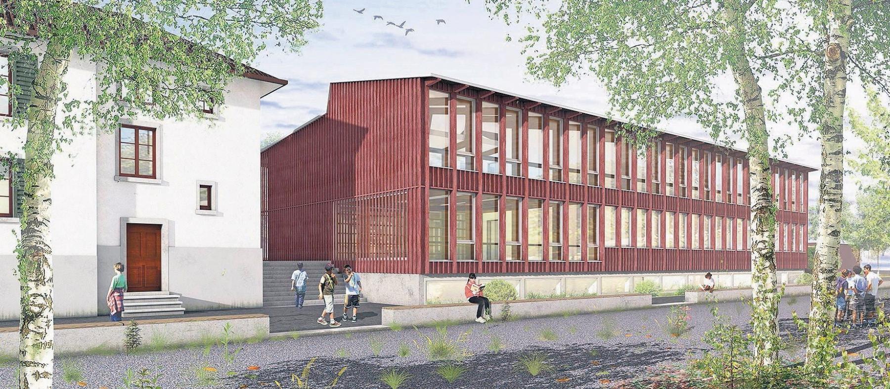 Erweiterung Primarschule mit Kindergarten, Scherzingen, Dahinden Heim Architekten, relief