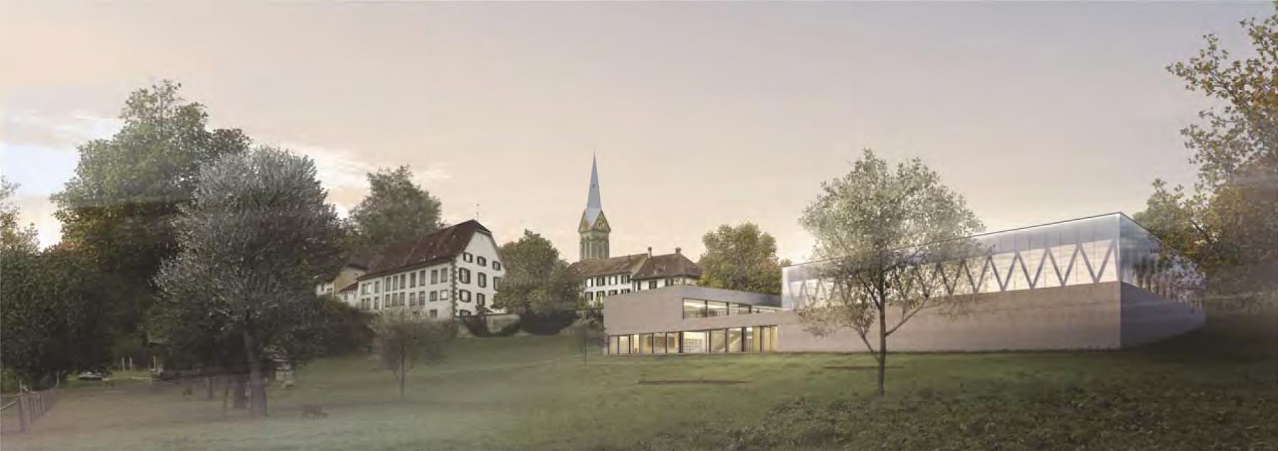 Münchenbuchsee, Klosterweg: Pädagogisches Zentrum für Hören und Sprache - Neubau einer Sporthalle, einer vierklassigen Basisstufe und eines Psychomotorikbereichs