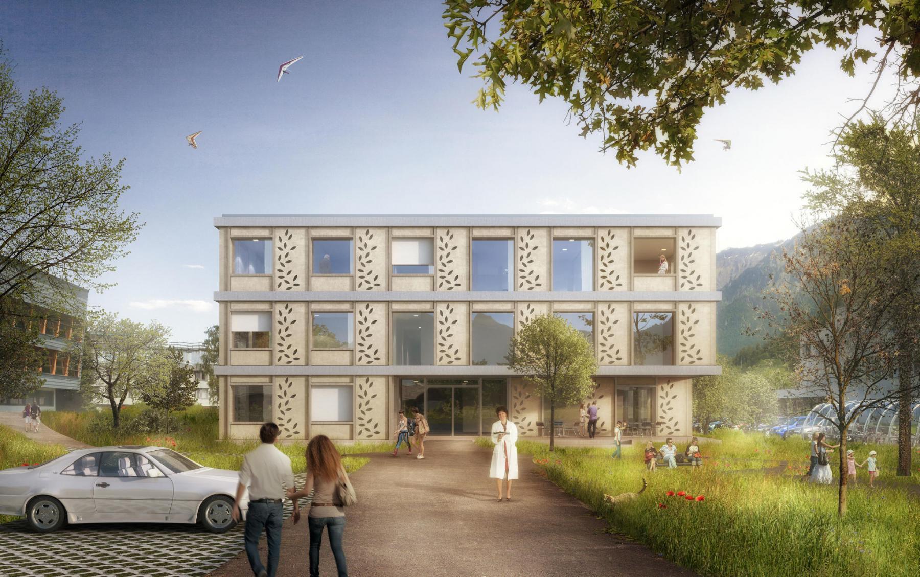 Neubau Heim der Stiftung Helsenberg für 34 psychisch beeinträchtigte Personen in Unterseen - HIBISKUS MJ2B Architekten