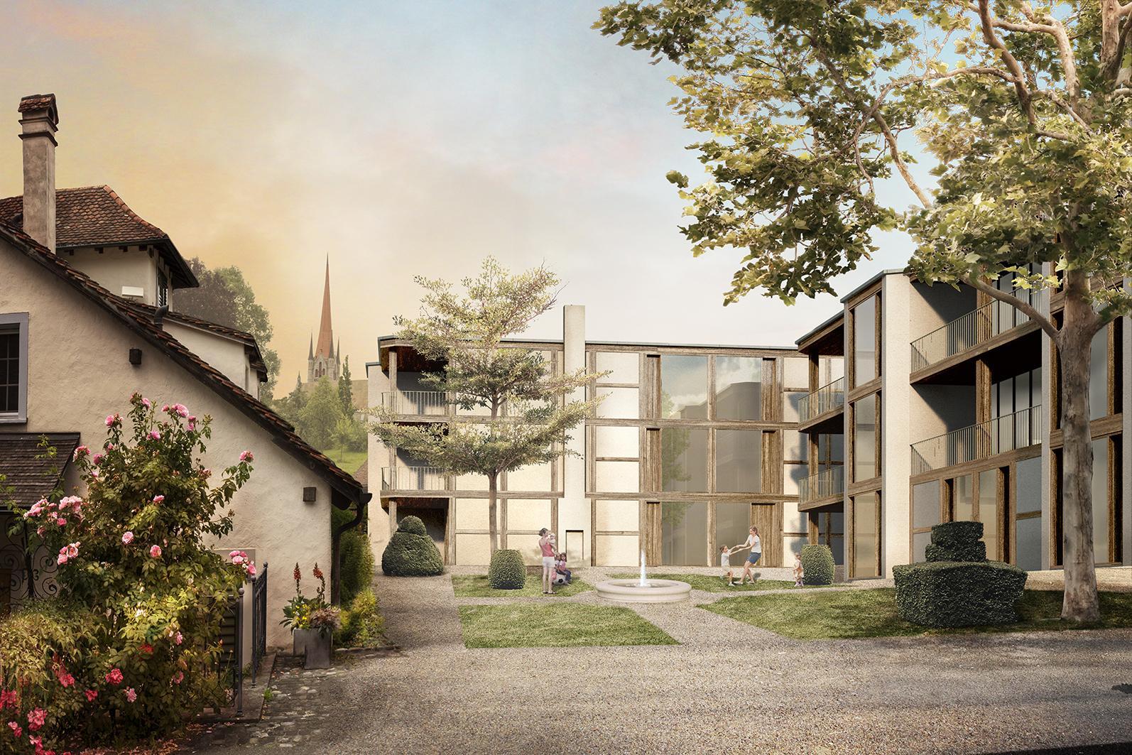 Neubau von Wohnhäusern auf dem Zurlaubenhof in Zug