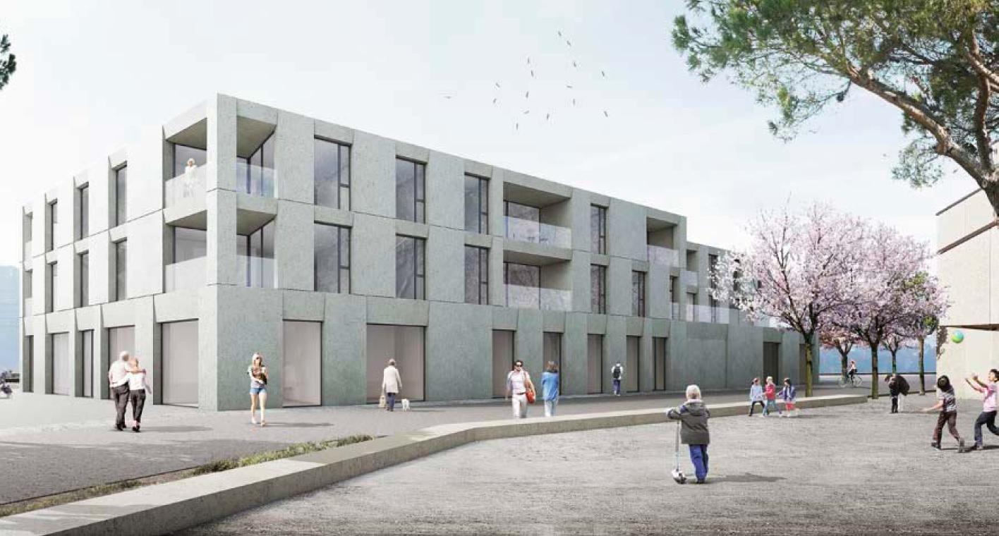 Projets de construction sur le site du PPA Cully-Gare, Bourg-en-Lavaux, 1er rang Bonnard Woeffray architectes ALL THAT JAZZ