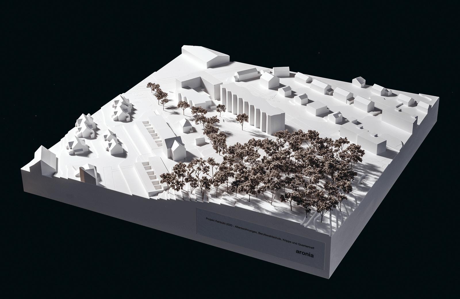 Projekt Rehbühl 2020, Uster: Alterswohnungen, Berufswahlschule, Krippe und Quartiertreff