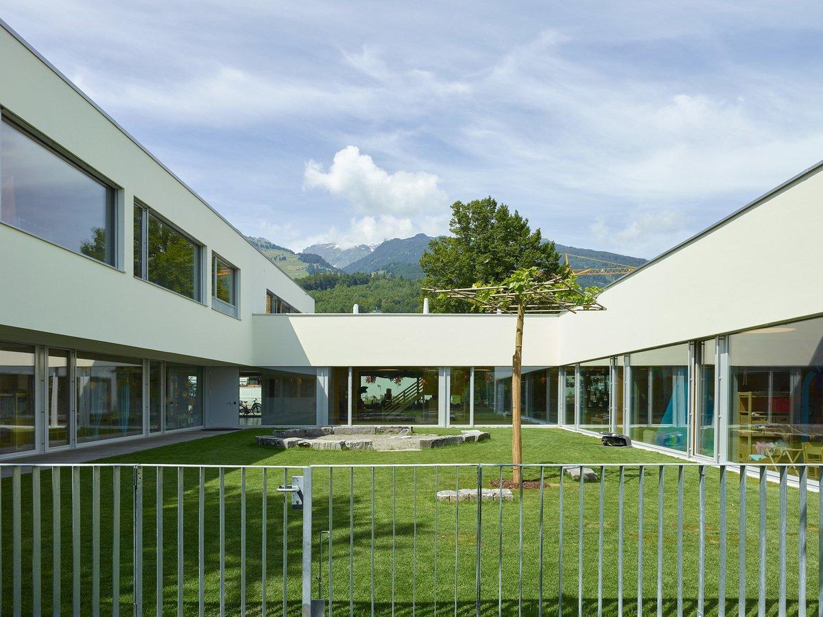 Schulanlage Räfis Erweiterung Primarschule, Kindergarten und Kindertagesstätte, Buchs, Jean Gerard Giorla & Mona Trautmann Architekturbüro, TRIO