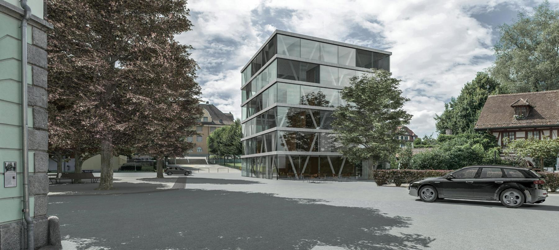 Umgestaltung Rigiplatz und Neubau Verwaltungsgebäude, Cham, Albi Nussbaumer Architekten, Konrad Hürlimann Architekt, Dorado