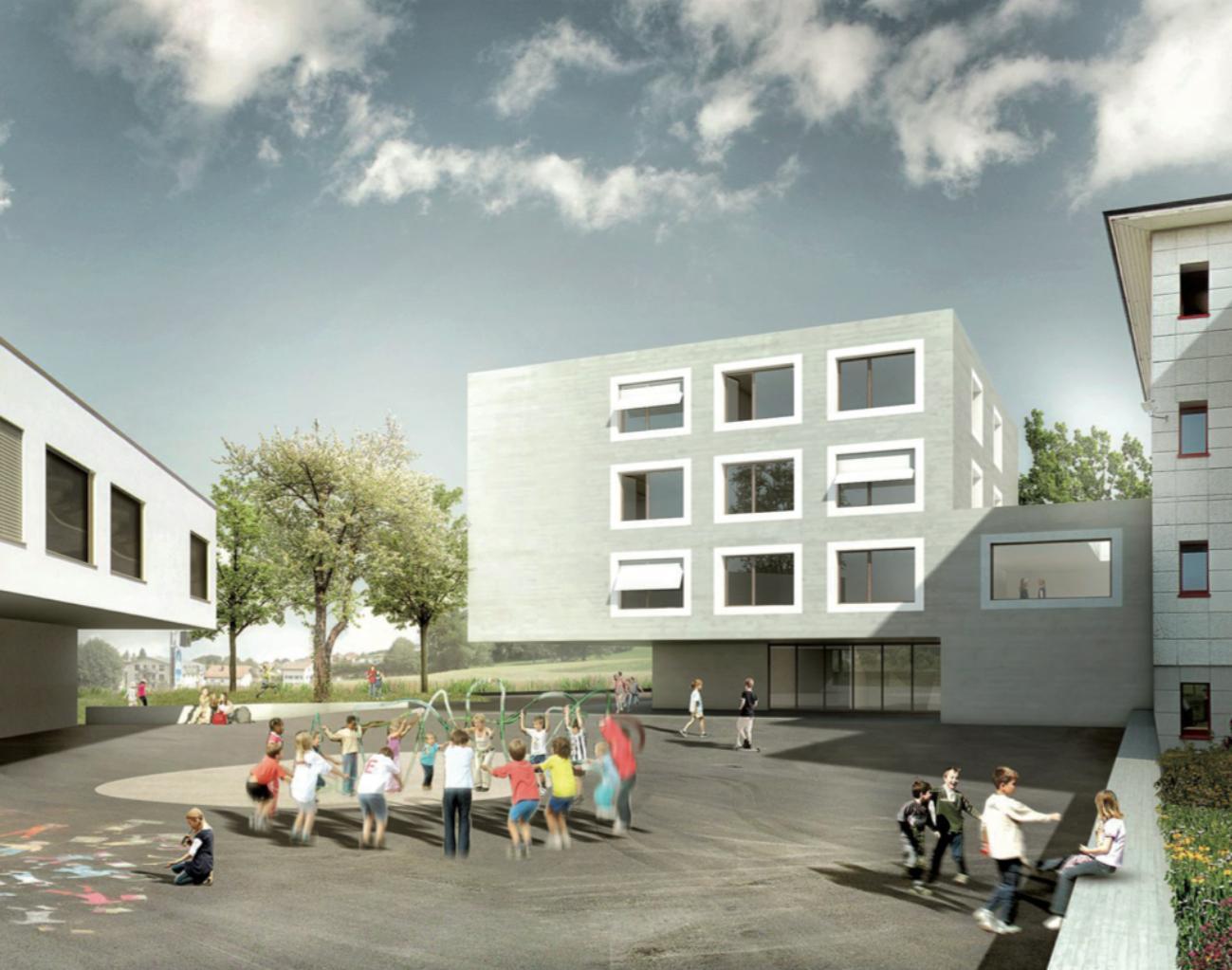 """Agrandissement du bâtiment de l'école primaire existante """"Le Renard"""" à Attalens (FR), cBmM architectes, «Haut les mains!»"""
