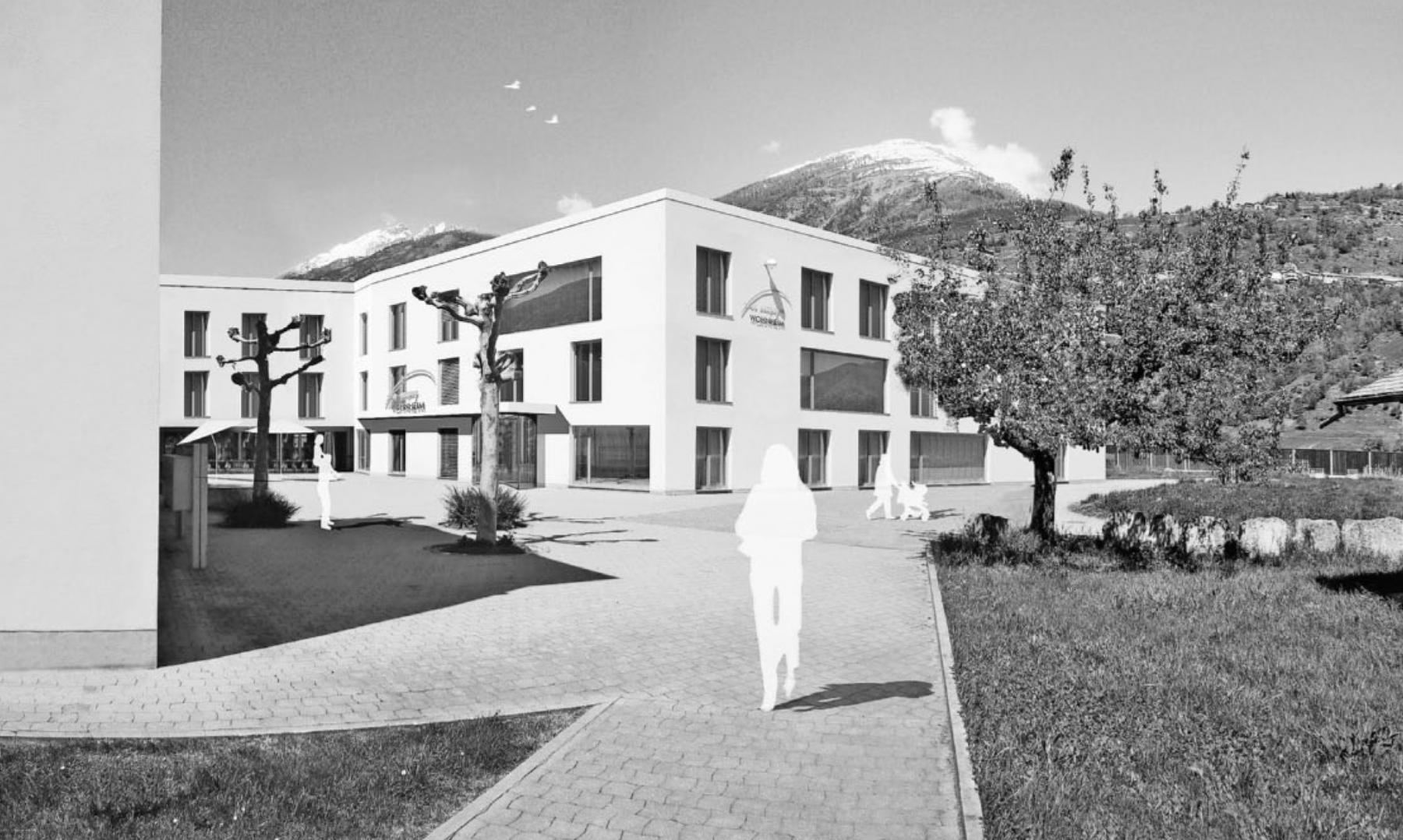 """Erweiterung der Wohn- und Beschäftigungsstätte """"Fux campagna"""", Visp, Albrecht Architekten, konvexkonkav"""