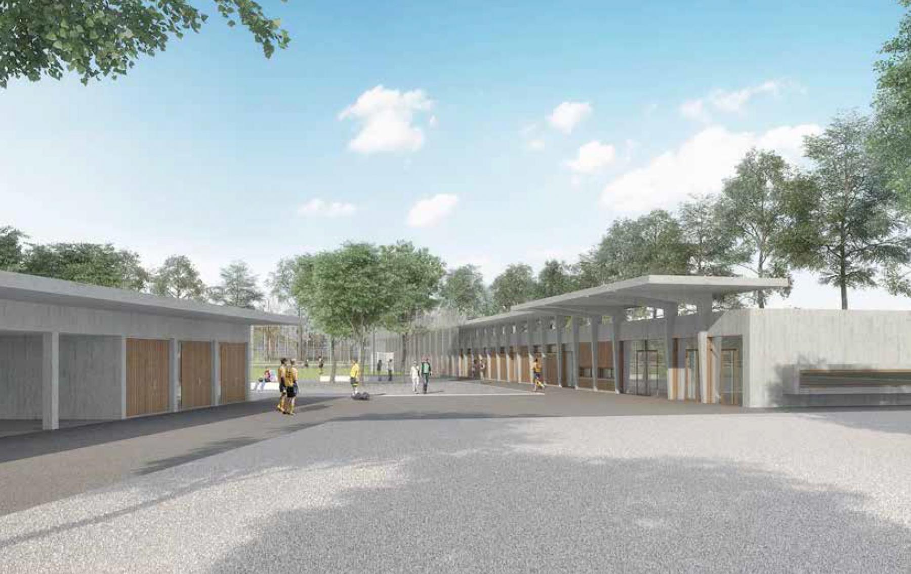 Neubau Garderobengebäude und Kunstrasenfelder Sportanlage Bodenweid, Bern, Team Arthur Huser Architekt, Aufstieg