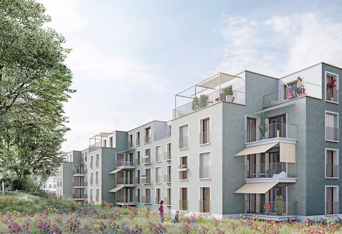 Ersatzneubau Stüssistrasse 58-66 Zürich, Chebbi | Thomet | Bucher Architektinnen, 1. Rang Papagei