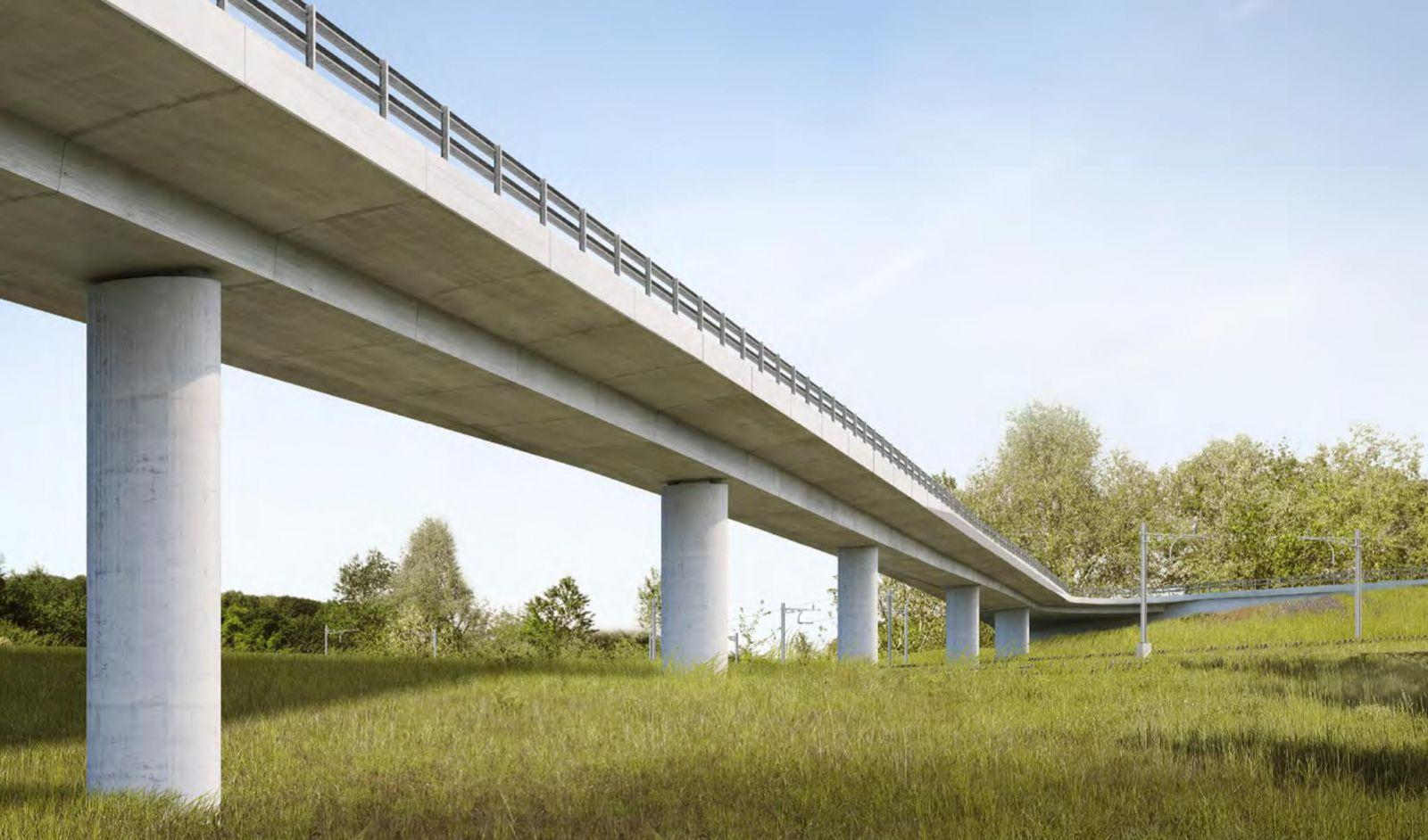 Construction du pont du Tiguelet (RC Axe 2200 Givisiez–Grolley–Payerne, suppression du PN de Givisiez), dsp Ingenieure & Planer + Spataro Petoud Partner + Architekt Balz Amrein, «Lotus»