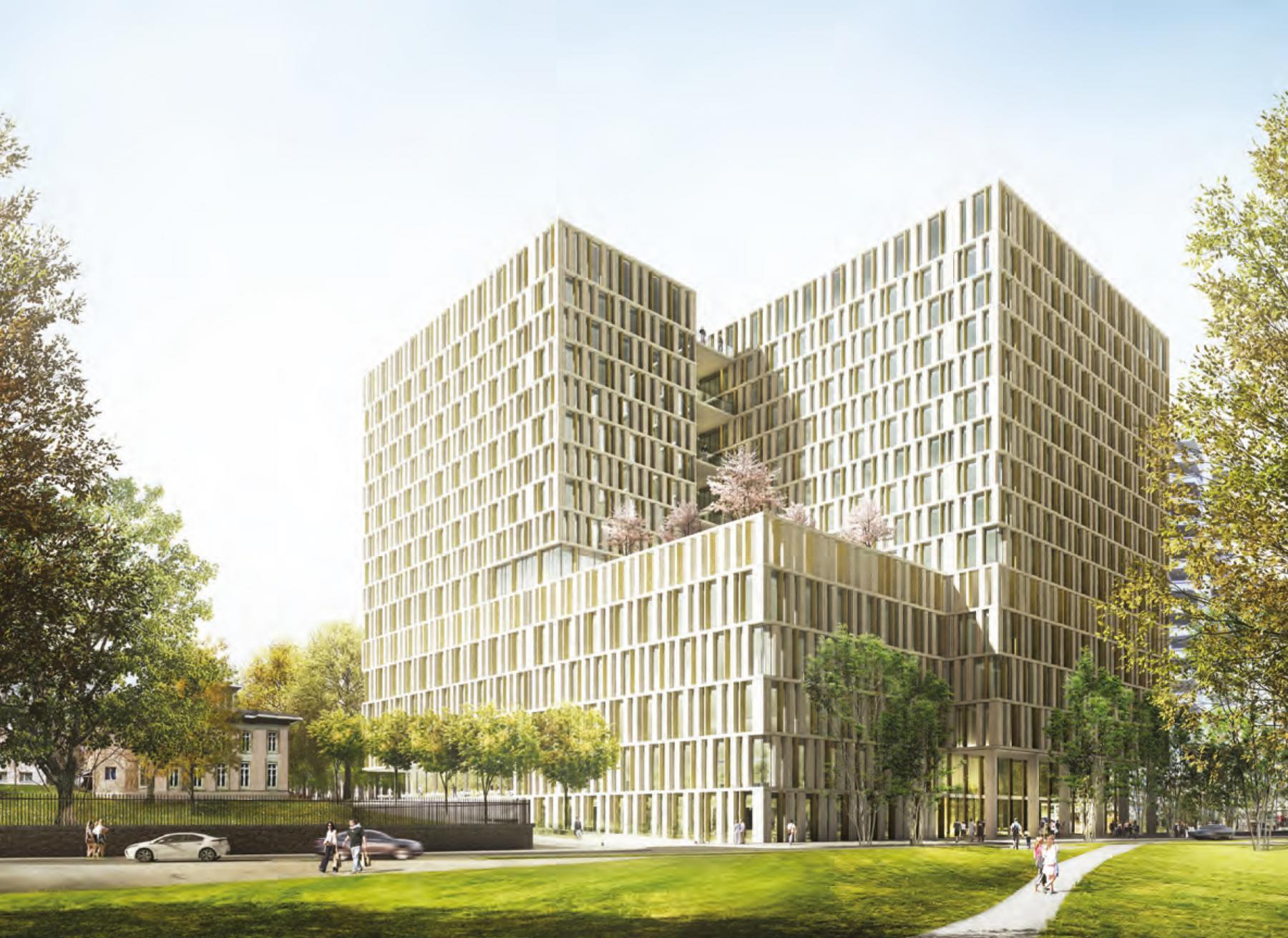 Universitätsspital Bern Inselspital Erster Neubau (Baufeld 12 aus dem Masterplan) mit dem Schweizerischen Herz- und Gefässzentrum, Team Island Twelve, ARGE IAAG Architekten | GWJ Architektur, Coeur de l'Île
