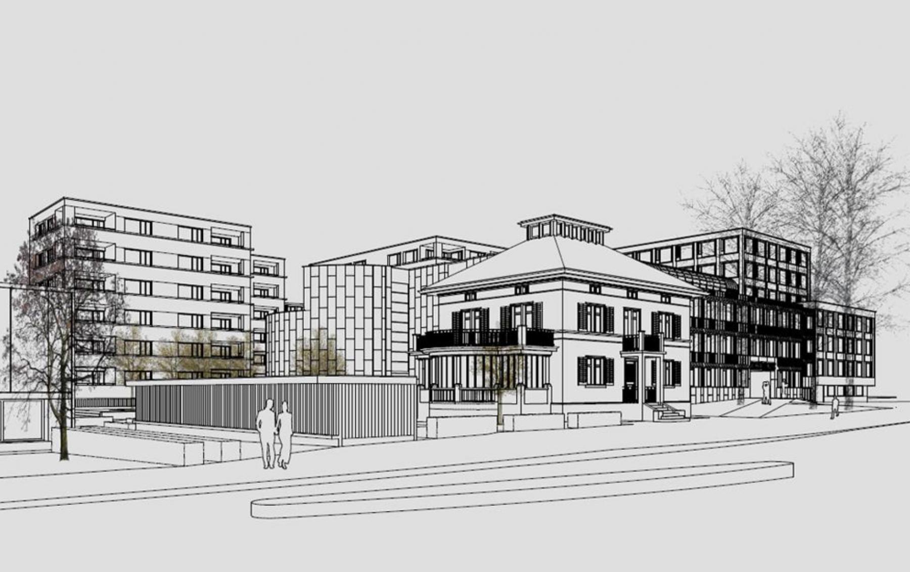 Erweiterung Stadthaus, Post, Wohnbauten Hirschwiesenstrasse in Wetzikon, Hodel Architekten