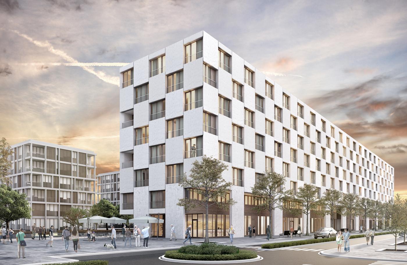 Site de la gare des Eaux-Vives, Genève (logements, équipements publics et sportifs, surfaces d'activités, parkings), B+W architecture + Tekhne, mi fa mi mi sol mi