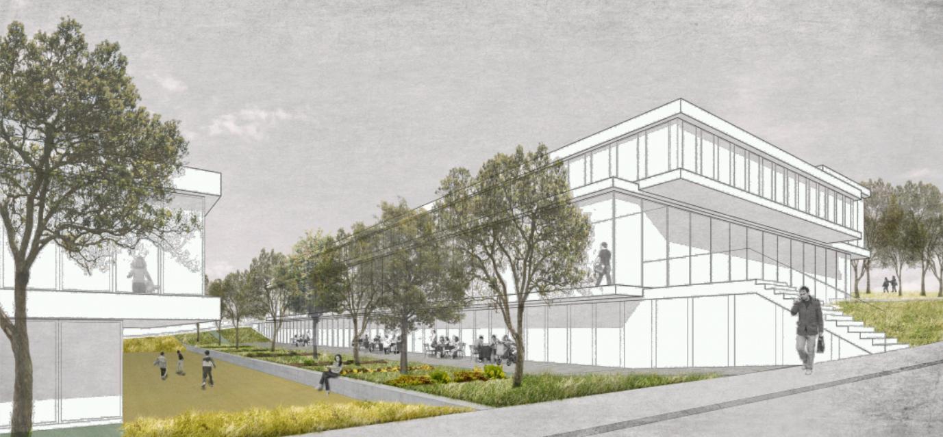 Projet de construction de nouveaux ateliers, de surfaces administratives et d'une crèche-garderie au Mont-sur-Lausanne, MPH architectes, STRATOS
