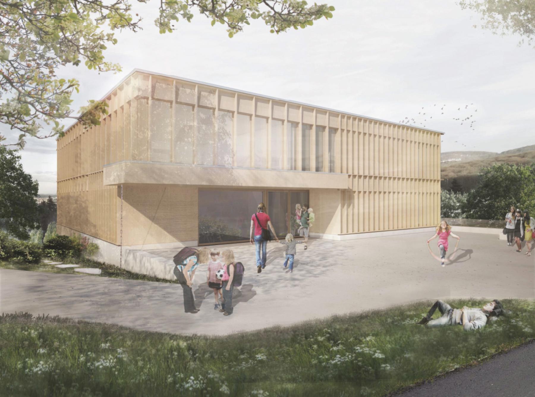 Neubau Schulhaus Pfeffingen BL, Oliver Brandenberger und Adrian Kloter Architektengemeinschaft, Ku tschi tschi