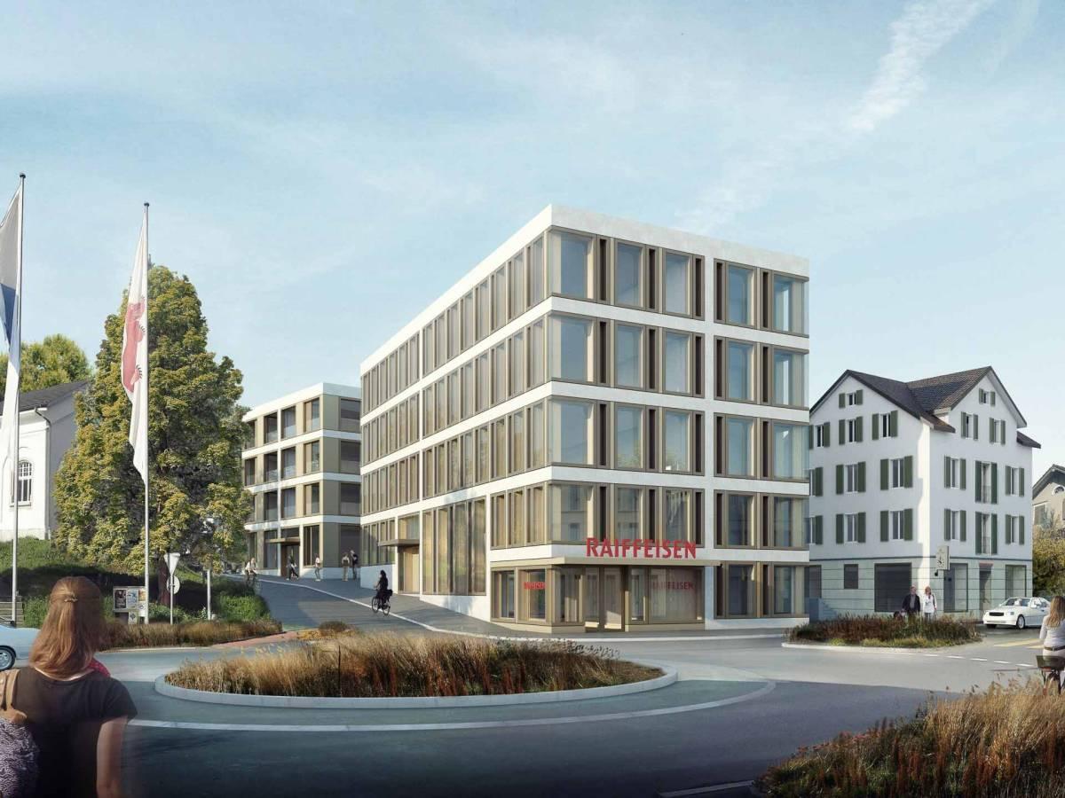 Neubau Geschäfts-/Wohnhaus Raiffeisenbank Cham, Bünzli & Courvoisier Architekten, MEZZANIN