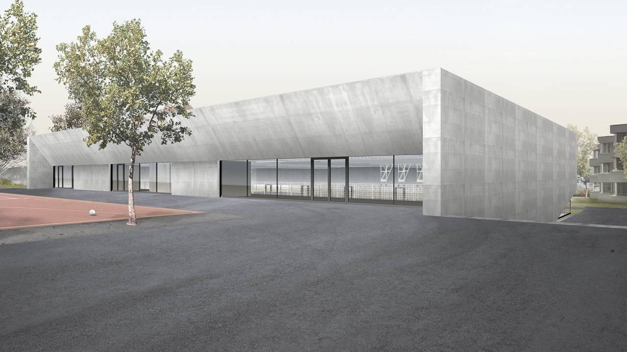 Neubau eines Turnhallentrakts in der Schulanlage Margeläcker, Wettingen, Nägele Twerenbold Architekten, LUX LUMINA
