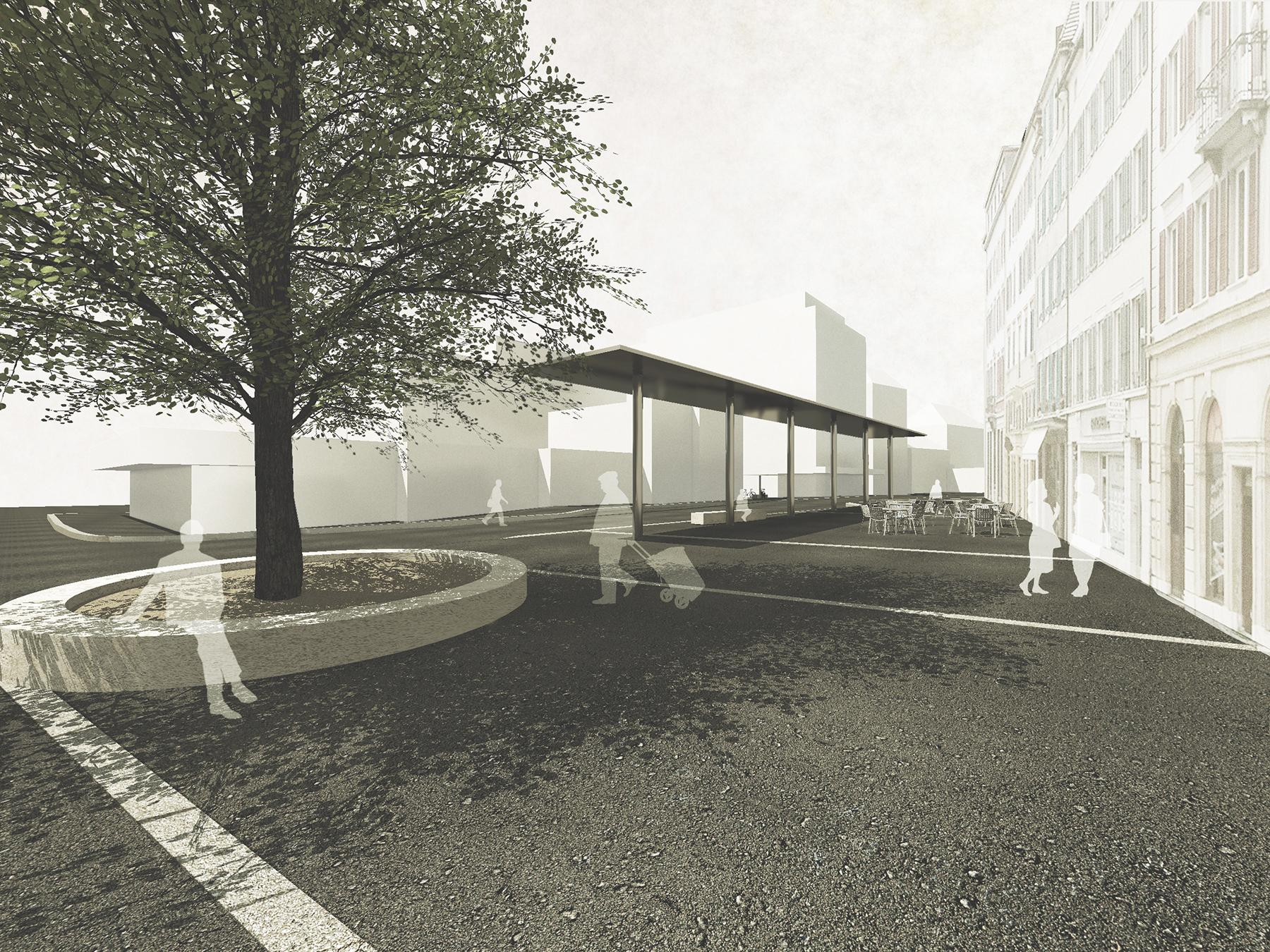 Aménagement place du 1er Août + esplanade de la Gare, Le Locle, Evéquoz Ferreira architectes, tout pile