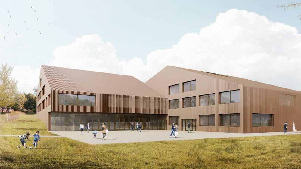 Nouveau bâtiment scolaire, Le Muids, Bonnard Woeffray architectes, CHEEK TO CHEEK