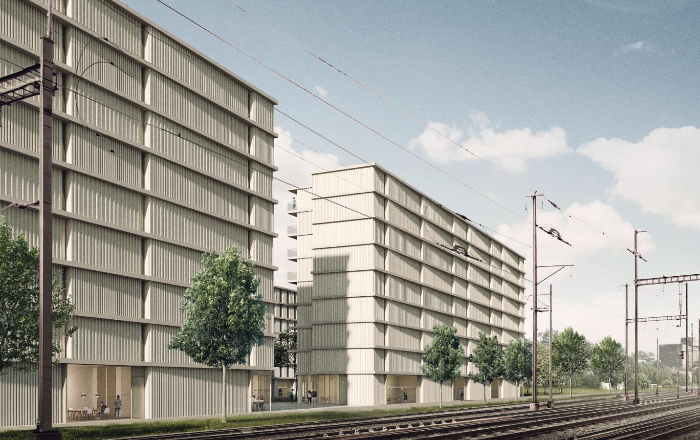 Projet lauréat – Perspective coté rails TATOU (© TRIBU ARCHITECTURE SARL)