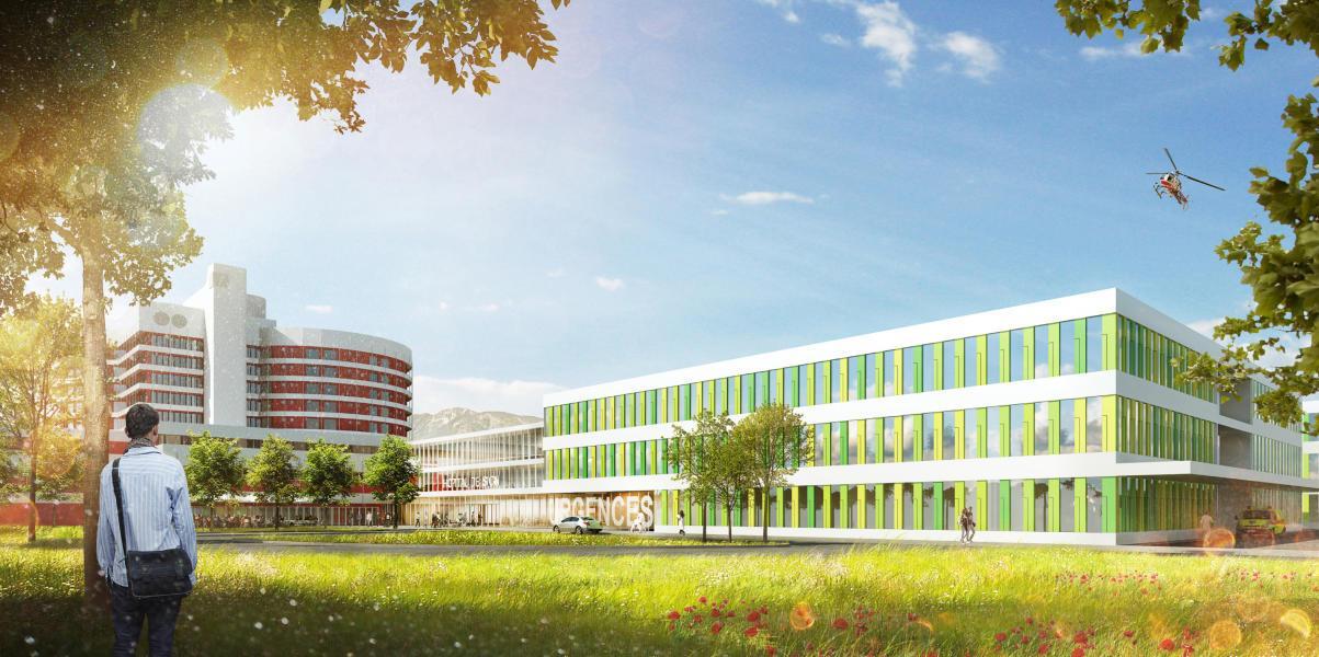 CampuSanté (1er rang, 1er prix) : Visuel (GMP + Ferrari architectes, Lausanne | Kbm Engineers SA, Sion)