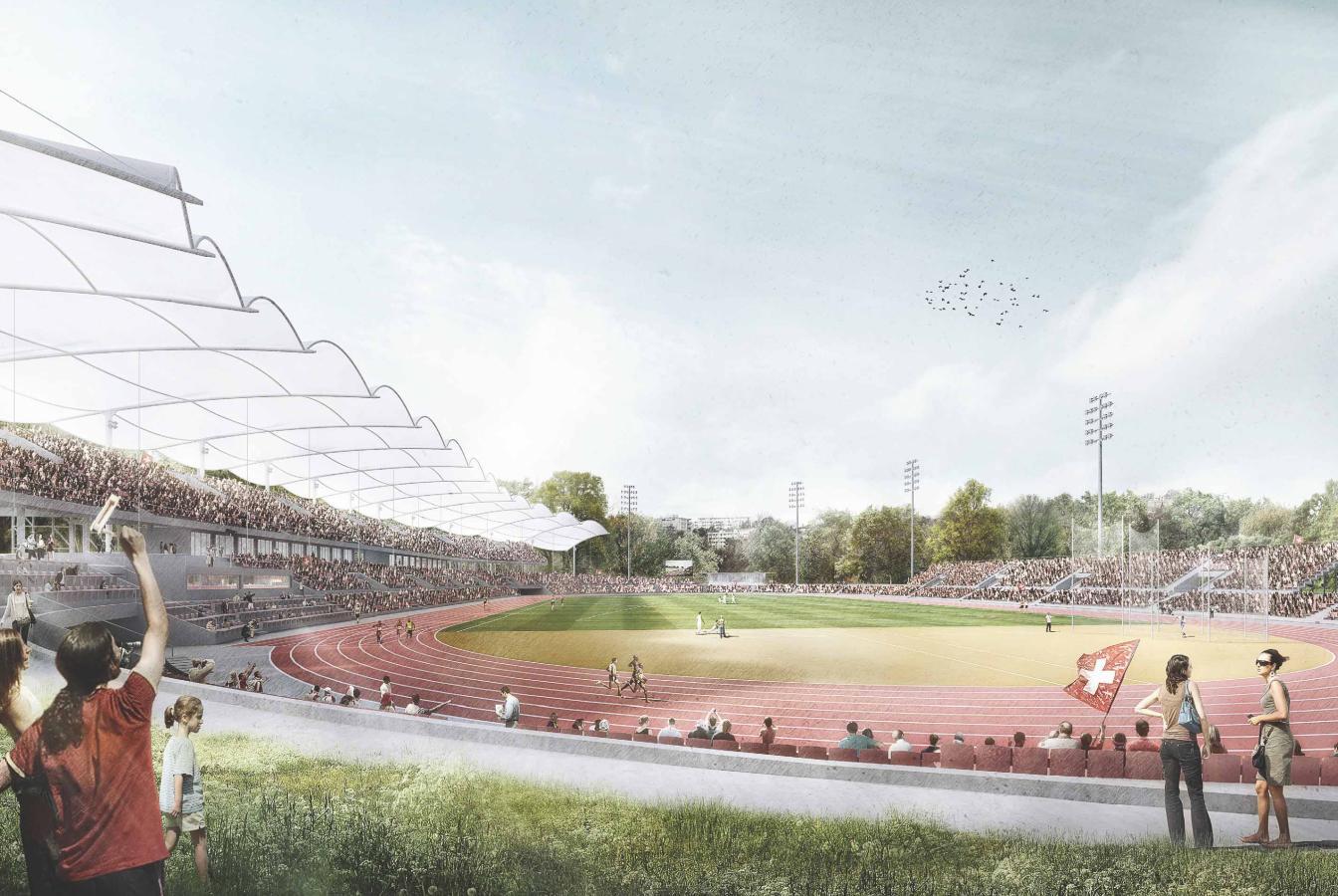 Perspective Athletissima du projet ORBITE (©Translocal Architecture GmbH)
