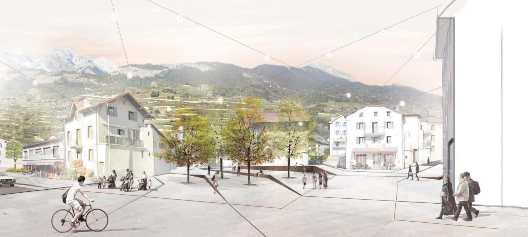 Perspective de la place Centrale du projet lignes de vie (©Localarchitecture, CSD ingénieurs, paysagestion architects-paysagistes, MSR planification en transports)