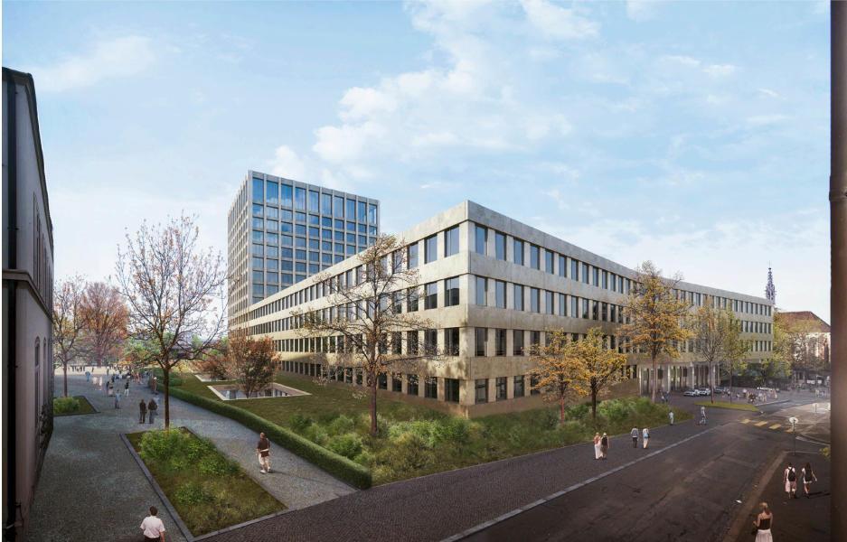Siegerprojekt mit städtebaulich umstrittenem Spitalturm: «Arcadia» von giuliani.hönger architekten. (Visualisierung: Projektverfasser)