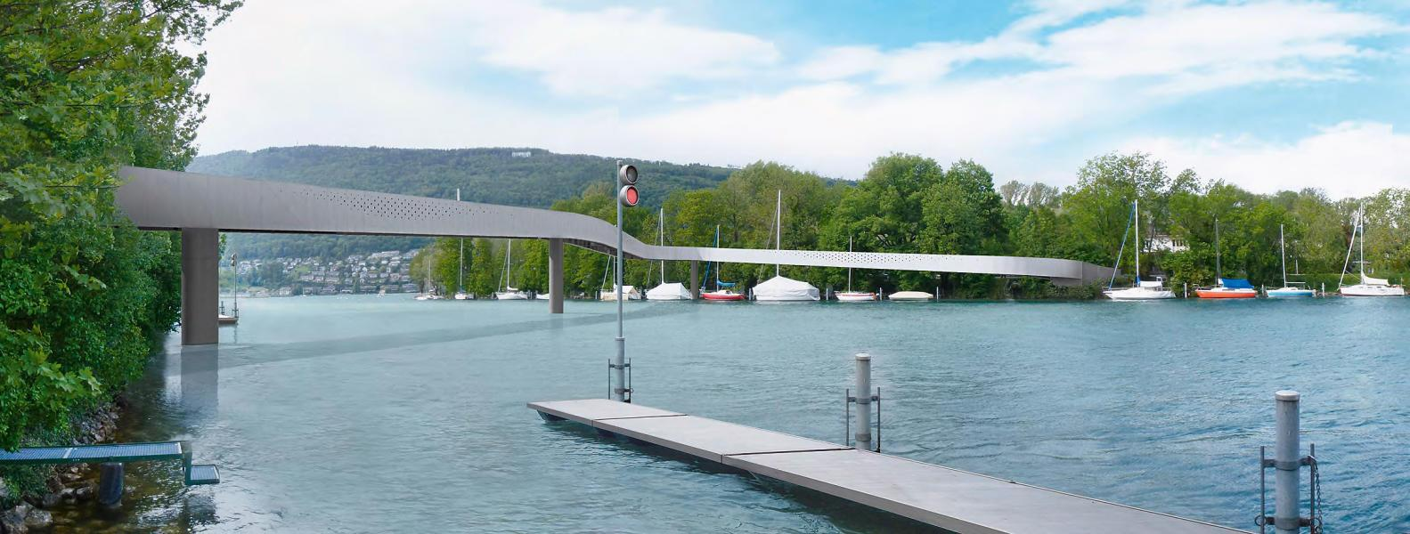 Siegerprojekt «Curva»: Die ungewöhnliche Form des 3.8m breiten Stegs entsteht aus den Anschlüsse an die Umgebung, der maximalen Rampensteigung und der Durchfahrtshöhe für Kursschiffe – für Se
