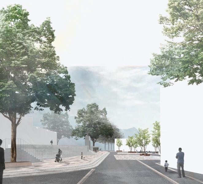 «Brig Glisse» (ARGE HAALT): Der neue Dorfplatz wird als Begegnungs- und Aufenthaltsort aufgewertet. Drei zentrale, unregelmässig angeordnete Belagsflächen definieren gestaltete Aufenthalts- und Terrassenbereiche. Die K