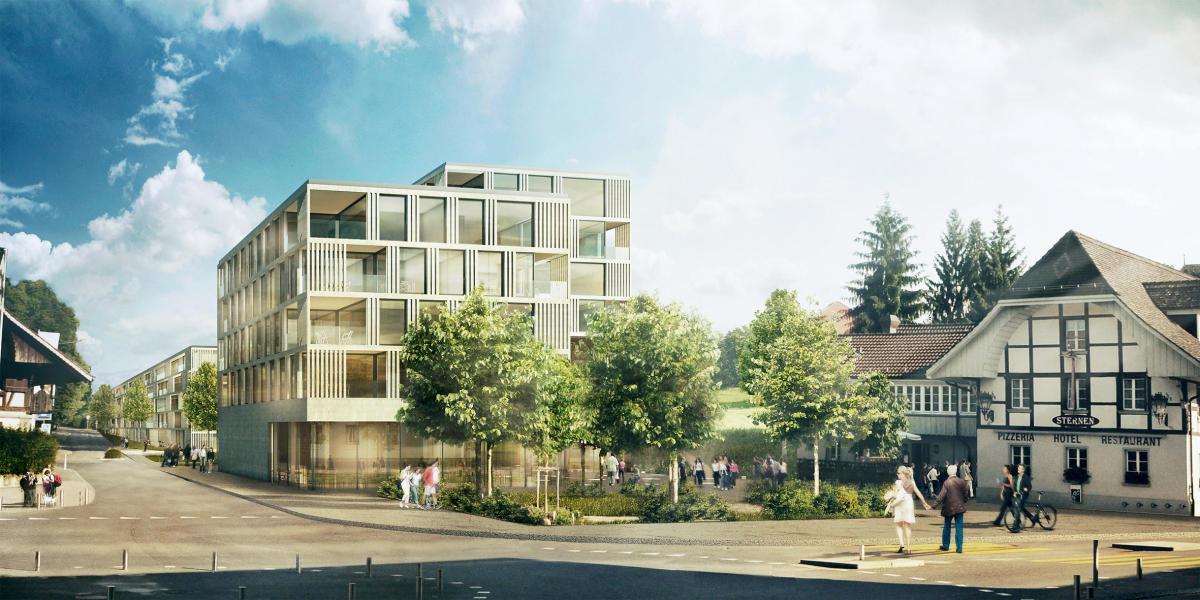 Zur Weiterbearbeitung «Janus», Blick vom Bläuackerplatz. (Visualisierung: ARGE wahliruefli Architekten und Raumplaner/rollimarchini Architekten)