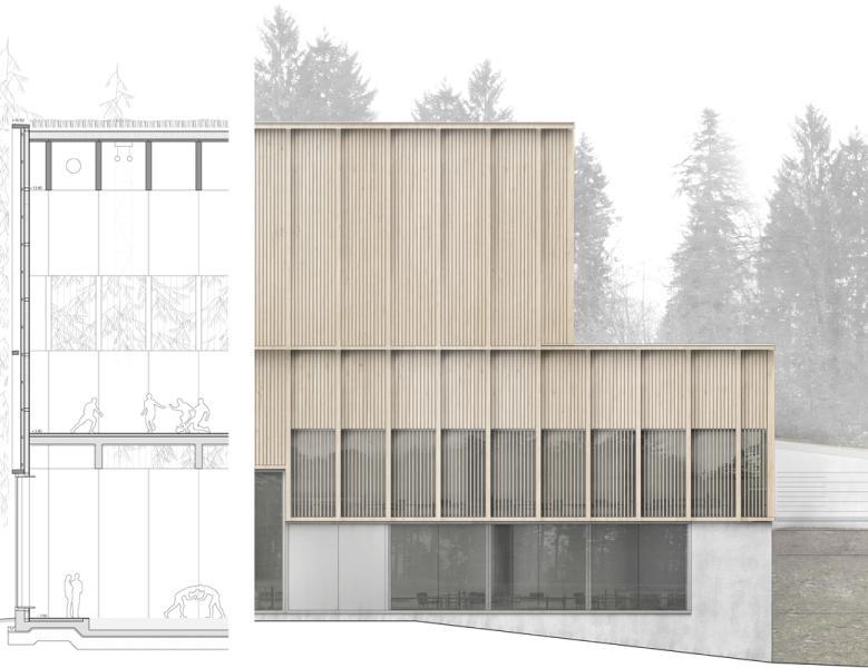 Perspective du projet «Wunderbaum» (© Aeby Aumann Emery architectes)