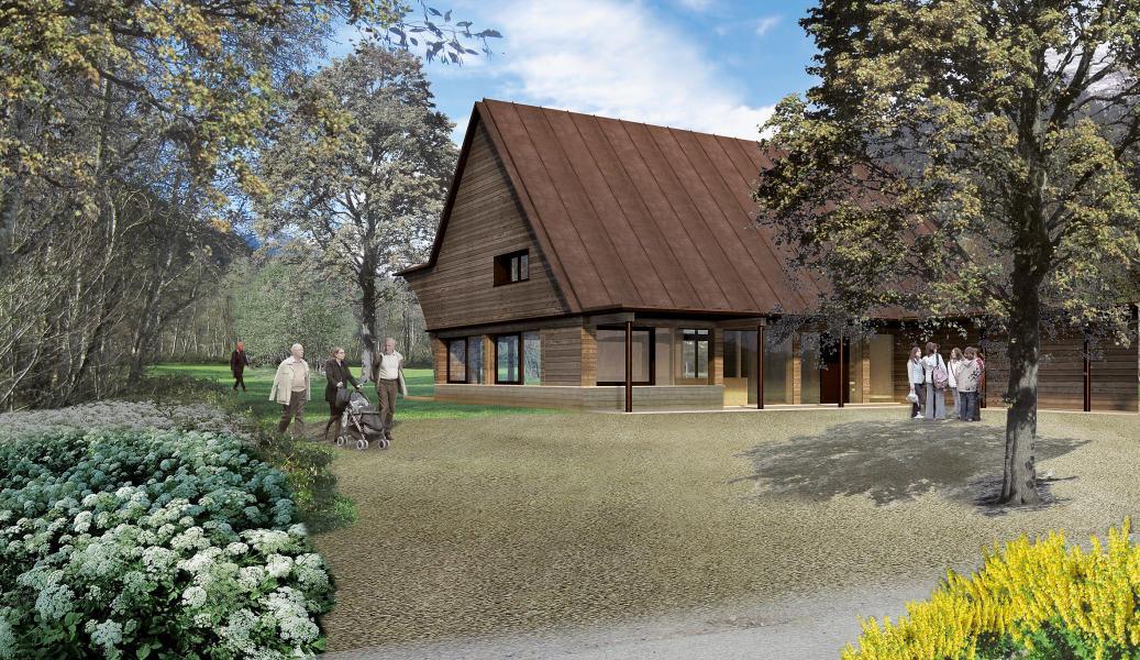 «Tuturna» (Huonder/Eugster/Bieler): Haupthaus aus vorgefertigten Holzbauelementen mit gebrannten Holzfassaden. (Visualisierung: Projektverfasser)