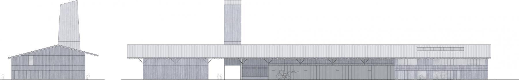 Ein Dach, unter dem alle Nutzungen vereint sind, und der expressive Salzsilo prägen das Siegerprojekt «Tenn». Der Ansatz ist pragmatisch, der Ausdruck angemessen. Ansichten von Osten (links) und Norden (rechts). (Plan: Proj