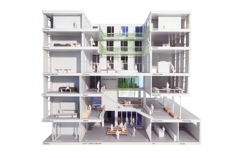 Das «Esperanto»-Scharnierhaus im Querschnittmodell: Das zentrale Forum ergänzt im unteren Bereich eine halböffentliche Nutzung; im oberen Bereich umgarnt das Atrium ein eigentlicher Wohnkranz mit frei bespielbaren Hall