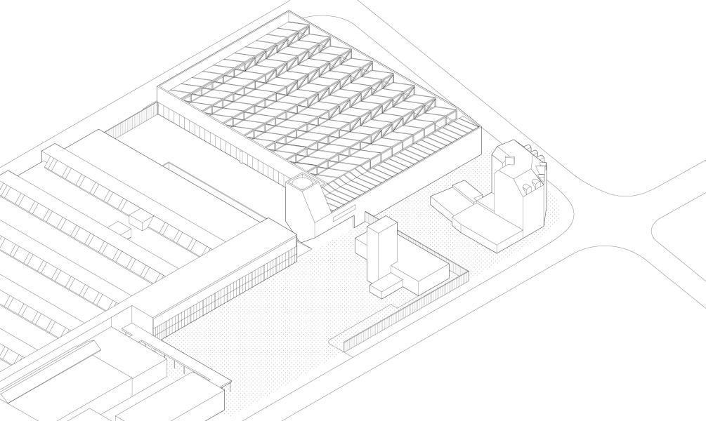 Der geschlossene Hof zwischen Bestand und neuer Halle überzeugte die Nutzer – die klare, prägnante Form die Jury. Axonometrie des Siegerprojekts «Korund» von pool Architekten, Schnetzer Puskas Ingenieure und Basl
