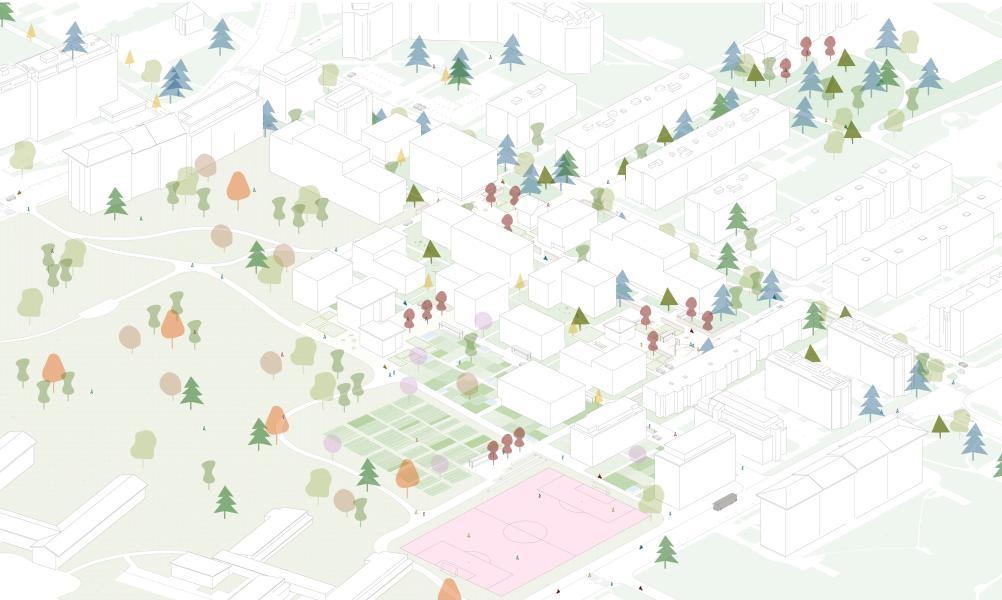 Axonométrie du projet de M+N paysage/architecture
