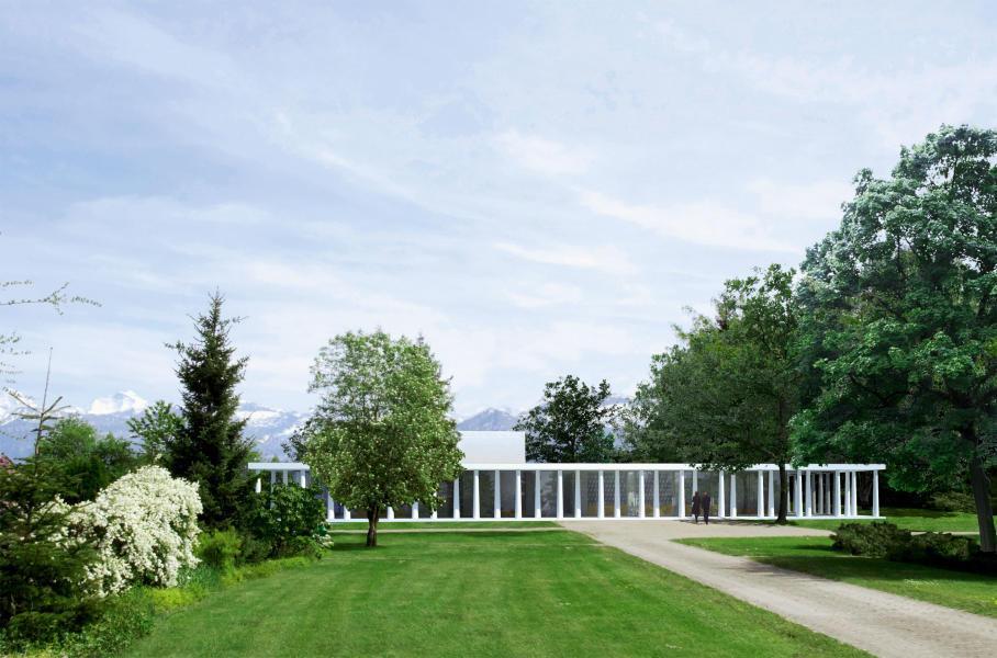 Die zweireihige Kolonnade mit versetzten Stützen verleiht dem Siegerprojekt «Obon» seinen würdevollen Auftritt. Gleichzeitig verbindet sie das Gebäude mit dem Park. Architektur und Landschaftsarchitektur treffen s
