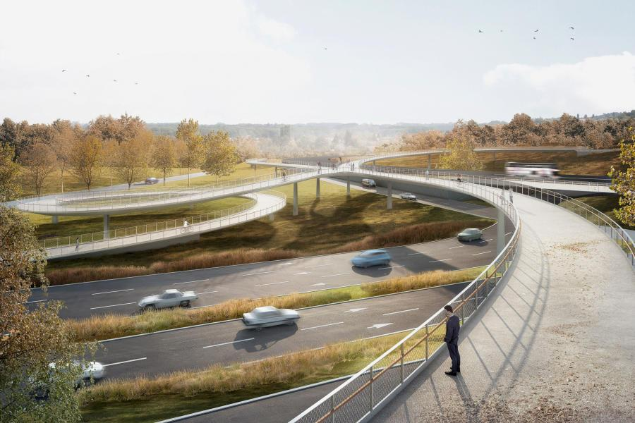 1. Rang Sinus: Mit eleganten Bögen knüpft das Siegerprojekt «Sinus» an das Verkehrsnetz an. Um diese einfachen Formen zu erreichen, hat das Team ein kreisrundes Rampenbauwerk entworfen, über das der Weg an Hö