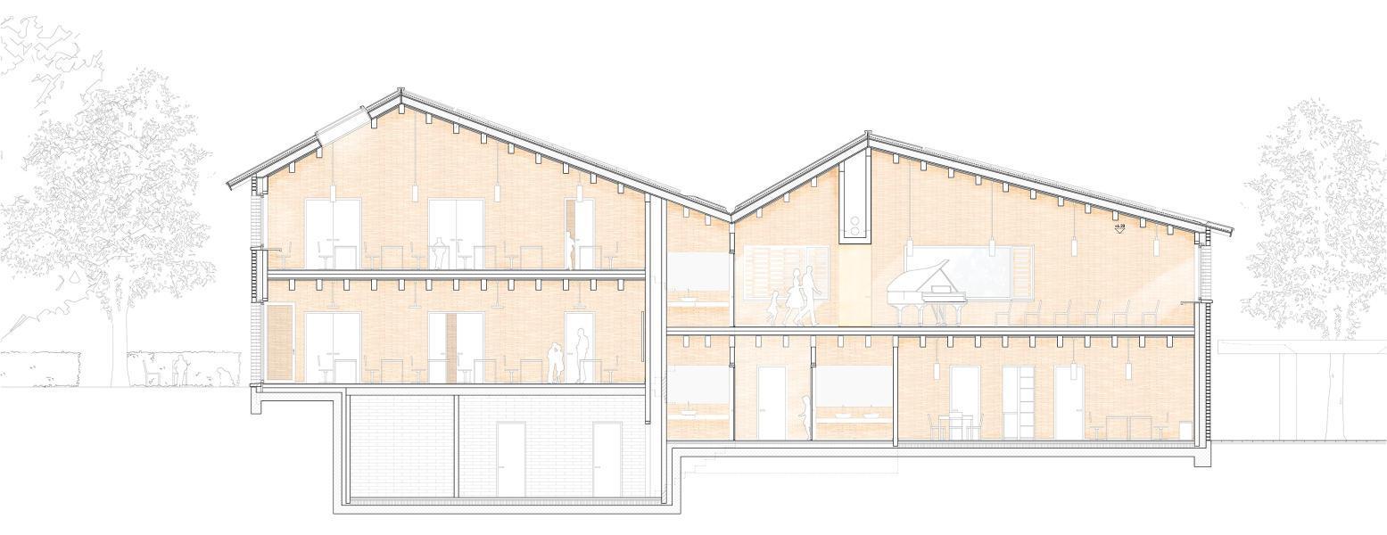 Der Splitlevel trifft im Siegerprojekt «Silhouette» auf die Reihung der Satteldächer. Die Räume im Obergeschoss profitieren von dieser präzisen Fügung. Insbesondere der Singsaal im Obergeschoss verspricht ein