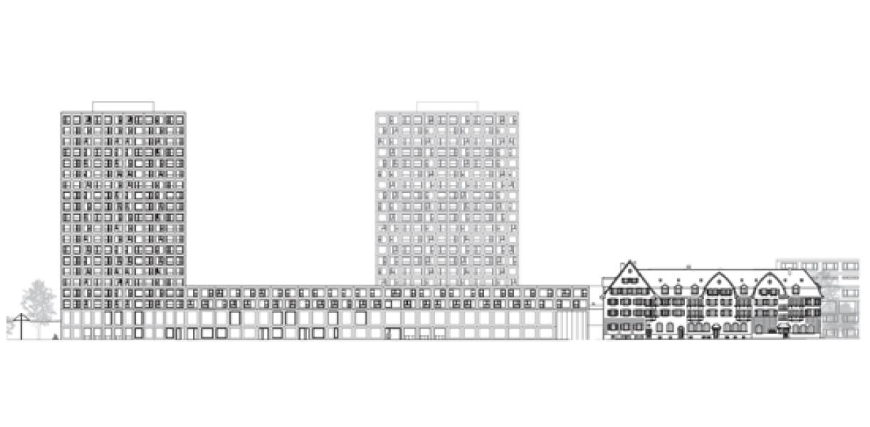 Über das neue Tramdepot kommt zunächst eine Schicht mit Maisonettewohnungen, die an eine gemeinsam genutzte Plattform grenzen. In den Fassaden sind sie gut über den beiden Erdgeschossen ersichtlich. Die Hochhäuser bezieh